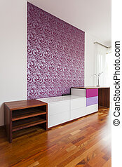Commode - White and violet commode in stylish room