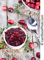 Homemade Cranberry Jam - Portion of fresh homemade Cranberry...