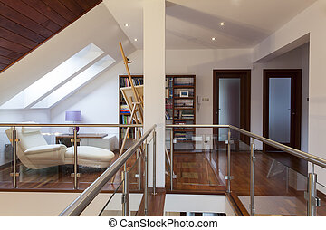 Artist's attic - Attic with easel and painting in artist's...