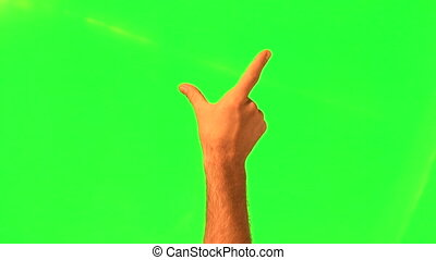 Touchscreen gestures - male hand - green screen and alpha...
