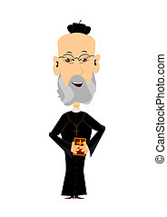 Cartoon priest on a white background, easy to add to any...