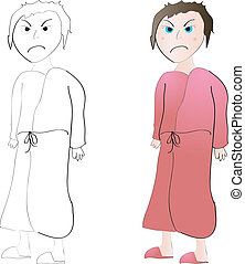 Mad woman - Mad or grouchy woman in bathrobe