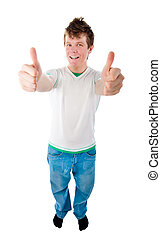 young man with thumb up isolated on white