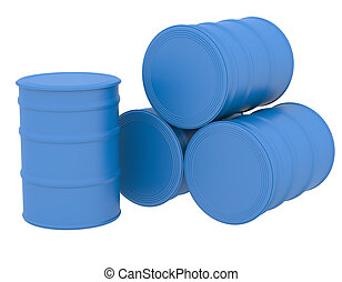 Blue barrels. 3d render isolated on white background