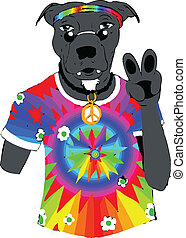 Hippy Dog - Cartoon Design of a hippy dog. Useful for party...