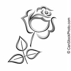 grief - a simplified illustration of a silver rose