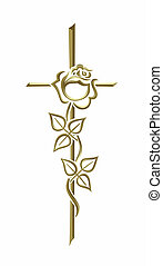 grief - illustration of a golden cross with rose