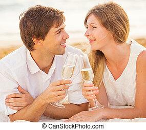 frau, begriff, Liebe, Paar, Flitterwochen, tropische, glas, Sonnenuntergang, Mann, champagner, sandstrand, Genießen