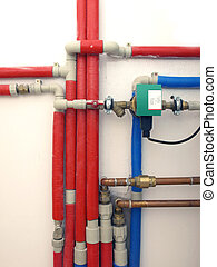 Heating system pipes in a boiler room