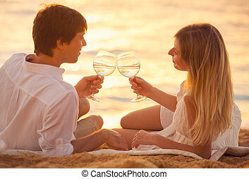 Honeymoon concept, Man and Woman in love, Couple enjoying...