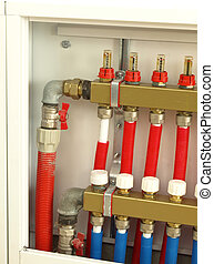 Boiler room equipment - Pipes and valves in a boiler room