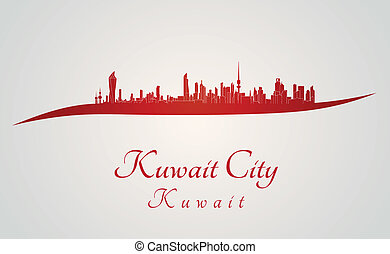 Kuwait City skyline in red and gray background in editable...