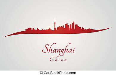 Shanghai skyline in red and gray background in editable...