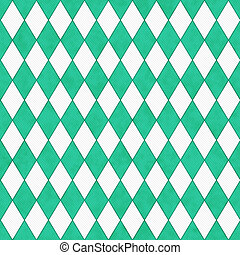 Teal and White Diamond Shape Fabric Background that is...