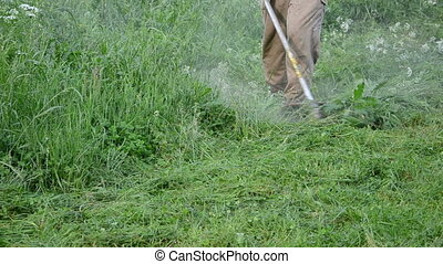 gardener cut grass - Farmer worker man cut trim wet high...
