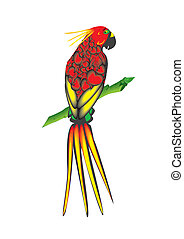 Bright parrot - Vector illustration. Bright parrot sitting...
