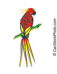 Bright parrot - Vector illustration. Bright parrot sitting...