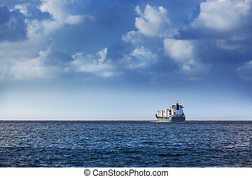 a cargo ship - cargo ship in the ocean in the sky