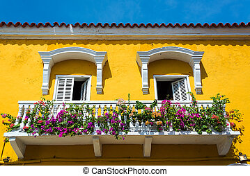 Colonial Balcony in Cartagena - Historic yellow and white...