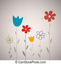 Abstract Retro Vector Flowers on Recycled Paper Background