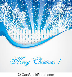 Winter scene - Winter evening in blue tone vector