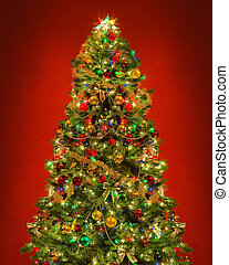 Christmas tree against red background