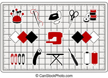 Quilting, Sewing Icons, Cutting Mat - Quilting, patchwork,...