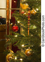 Interior with christmas tree and stained glass - Decorated...