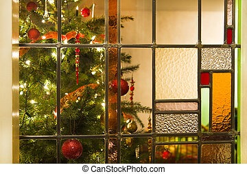Interior with christmas tree and stained glass - Stained...