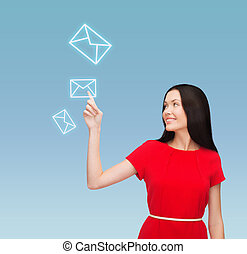 young woman in red dress pointing her finger - communication...