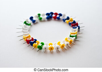 Circle, pushpins - a circle made of multicolored pushpins