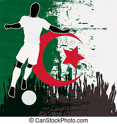 Football Algeria, Vector Soccer player over a grunged...