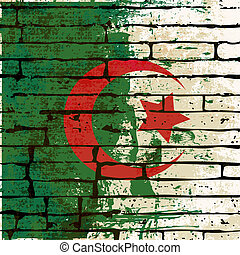Grunged Algerian Flag over a brick wall background...
