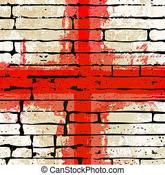 Grunged English Cross of Saint George Flag over a brick wall...