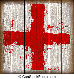 Grunged English Cross of Saint George Flag over a wooden...