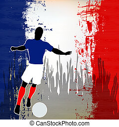 Football France, Vector Soccer player over a grunged French...