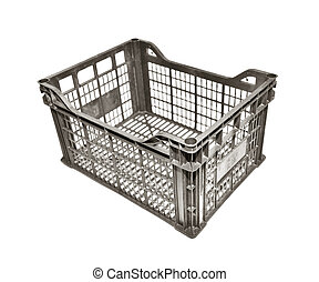 plastic crate - empty plastic crate isolated on white