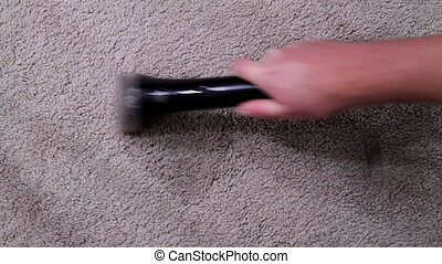Carpet cleaning spot treating - Adult male carpet cleaning...