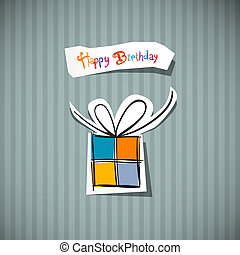 Retro Happy Birthday Card Present Box Cut From Paper