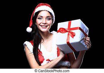Santa girl with Christmas gifts