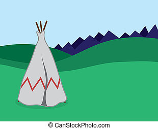 Tepee standing in outdoor landscape