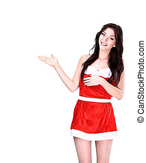 Christmas girl pointing to your message or product