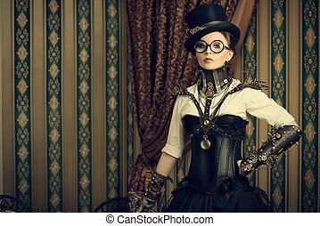 smart steampunk - Portrait of a beautiful steampunk woman...