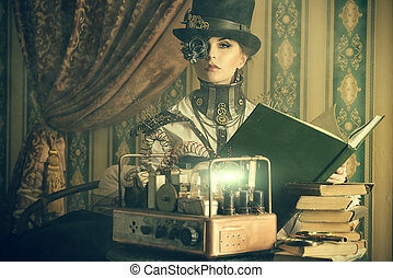 scientific - Portrait of a beautiful steampunk woman over...