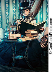 movie hero - Portrait of a beautiful steampunk woman over...