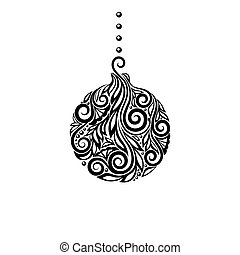 Black and White Christmas ball. Great design element for...