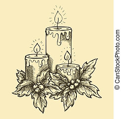 candles and holly berries leaves sketch freehand pen and ink...