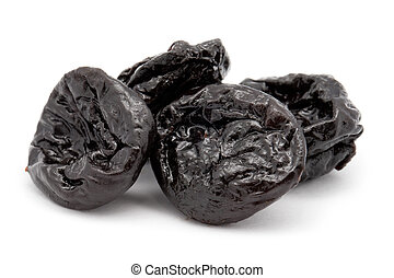 Prunes on a white background