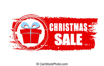 christmas sale and gift box on red drawn banner