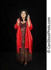 Dramatic actress performs on stage - Conversational genre...